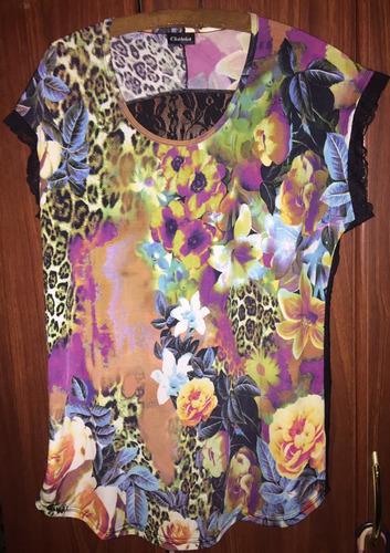 remera camisa marca chatelet.talle 46.floral y encaje.oferta