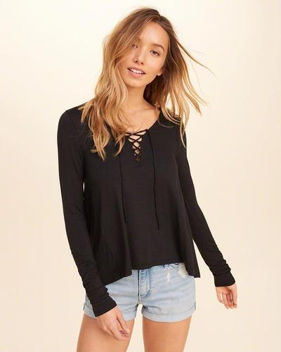 remera camiseta hollister mujer cruzado mercado importado