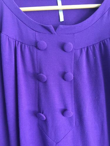 remera camisola en violeta con botones peuque