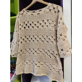 Remera Con Mangas 3/4 A Crochet