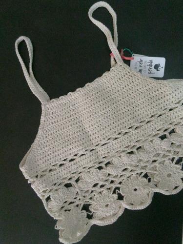remera - crop top crochet de hilo ¡ideal verano!