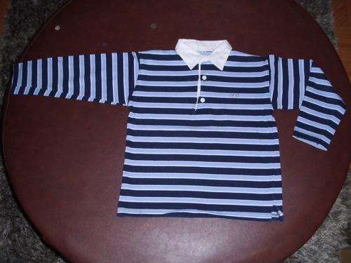 remera de algodón grueso, a rayas, para niño. talle 8.