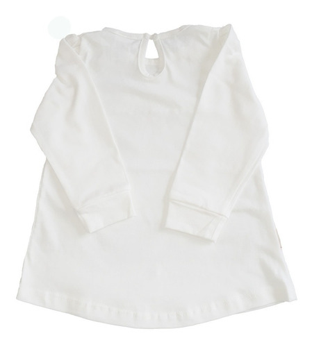 remera de bebe manga larga con puño encaje pompón blanco