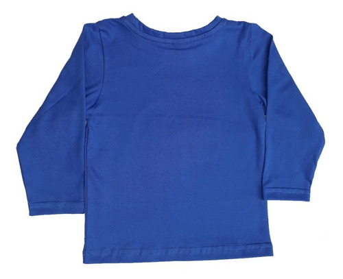remera de bebe manga larga estampada con relieve color azul