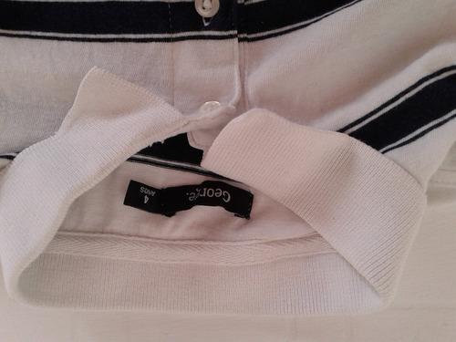 remera de pique blanca con azul talle 4