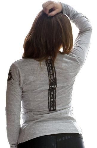 remera deportivas mujer manga recortes larga ropa crossfit art 6633