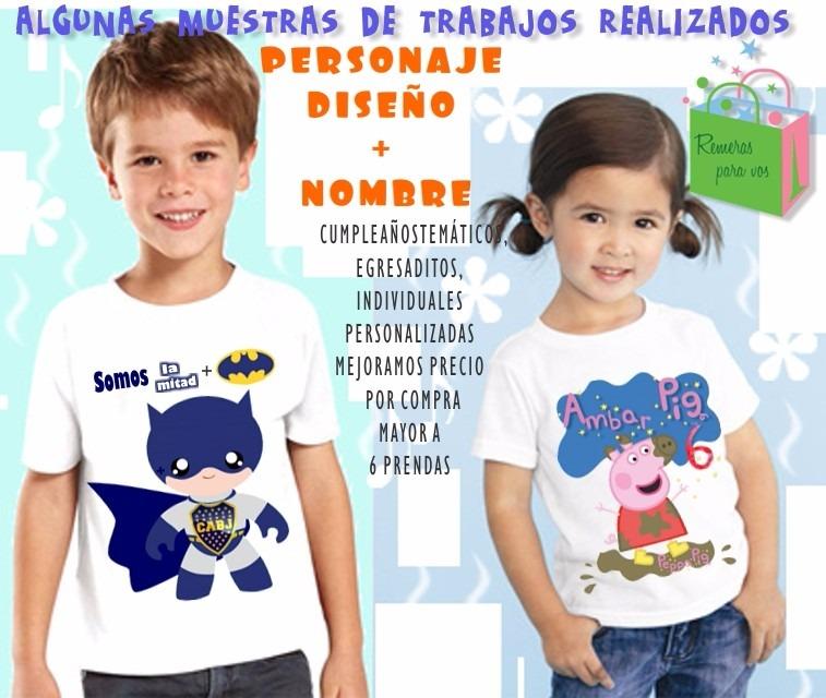 Remera Estampado Personalizado Sublimación Para Niño Niños -   316 ... dd582984962e8