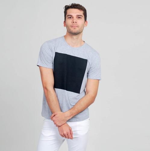 remera hombre, bergamasco, square premium gris