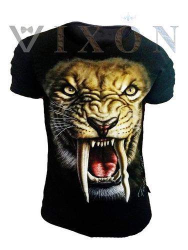 remera hombre entallada slim fit elastizada tigre