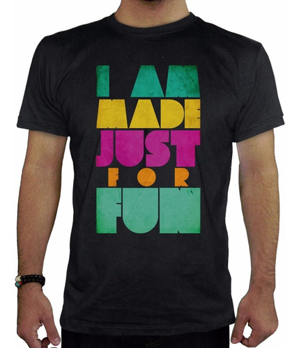 remera hombre  i am made fust for fun inkpronta