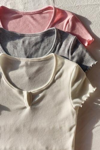 remera lisa escote v manga corta mujer escotado morley