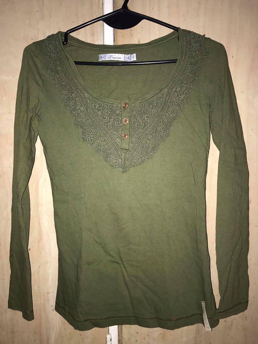 de16eca3652 remera manga larga camiseta verde mujer talle s. Cargando zoom.