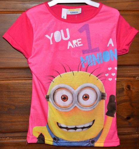 remera minions nena fucsia ta 6-10 años little treasure