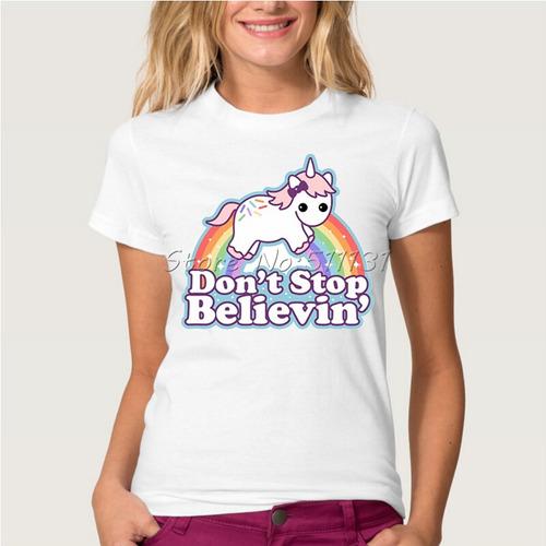remera moda lindo de dibujos animados unicornios arco iris