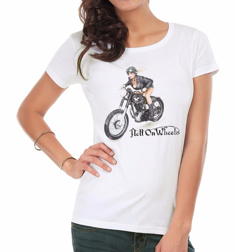 remera mujer   hell on wheels inkpronta