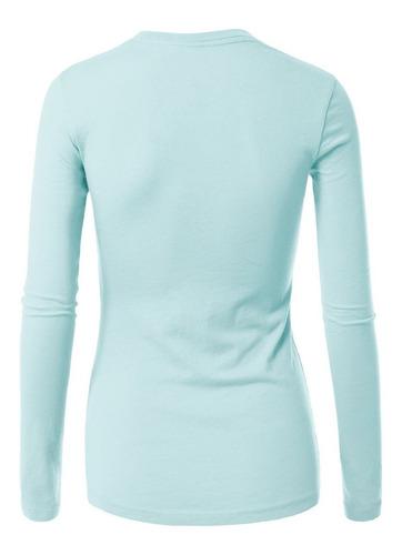 remera mujer lisa manga larga algodón 20 colores