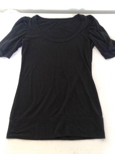 remera negra manga corta de algodon talle m