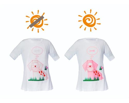 remera nena - estampa varia color c/luz solar - bloqueo uv