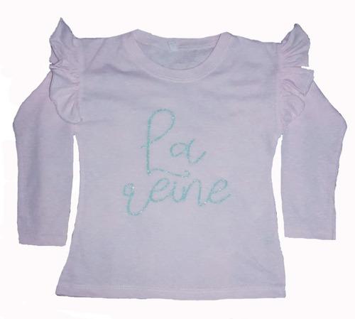 remera niña manga larga con volados y estampa color rosa