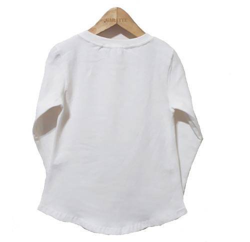remera niña manga larga estampa color beige