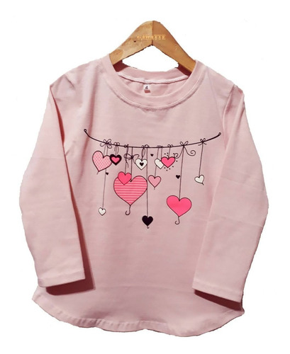 remera niña manga larga estampa color rosa