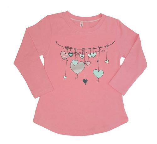 remera niña manga larga estampa color rosa flúor