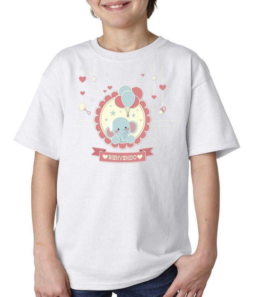 Remera Niños Frase Bienvenido Bebe Love Corazon Elefante