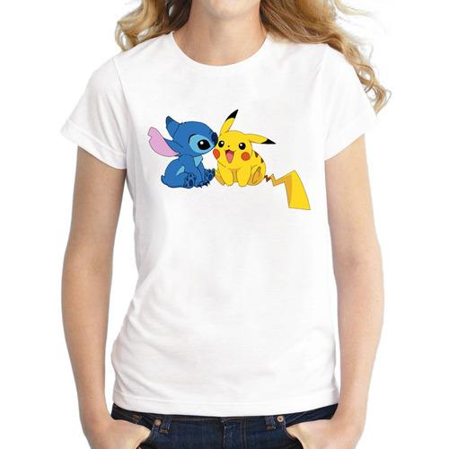 remera pokemon pokebenders ir mujeres de pikachu stitch div