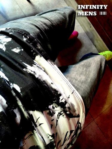 remera remeron long slim elastizado y estampado engomado
