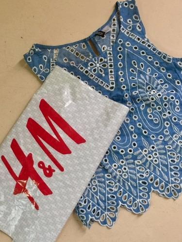 remera tela jeans bordada h&m - ultimo modelo r2