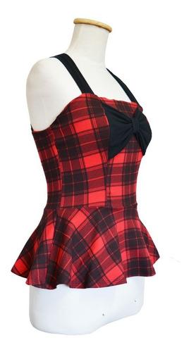 remera top moño peplum pin up dark gótico escocés rojo negro