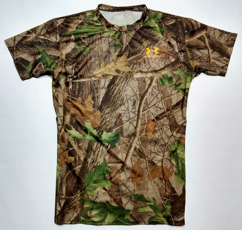 remera under armour camuflada real tree talle l compresion