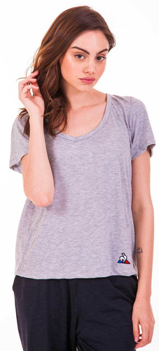 remera v new neck gris mujer le coq sportif