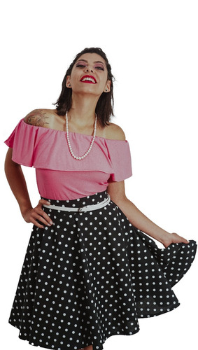 remera volado estilo pin up retro manga corta rosa