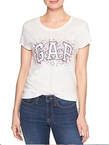 remeras gap mujer estampada beige originales usa