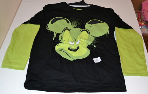 remeras mickey azul o verde 6-8 años little treasure.