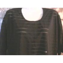 Remera O Blusa Dama Xl Manga Corta Negra Con Transparencias