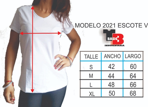 remeras xxl escote v alg. 100% t-basic- linea smooth (53x70)