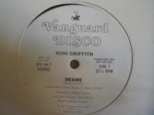 remix vinyl roni griffith - desire / i want your lovin' 1981