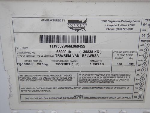 remolque caja refrigerada 2006 wabash 53x102 gmy100370