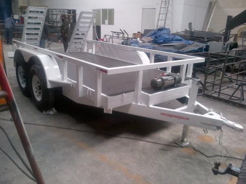 remolque cama baja montacargas maquinaria bobkat winch mex