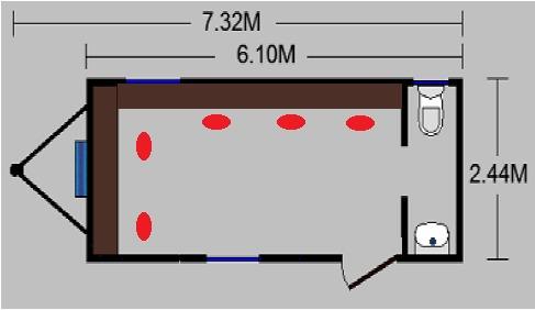 remolque movil de 8x24 pies camper oficina caseta c / baño