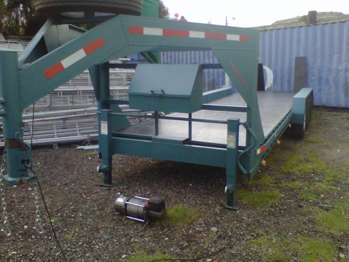 remolque plataforma cuello de ganso maquinaria camiones mty