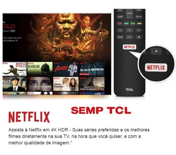Remoto Original Tcl Tv Led Uhd 4k P6us 50p6us 55p6us 65p6us