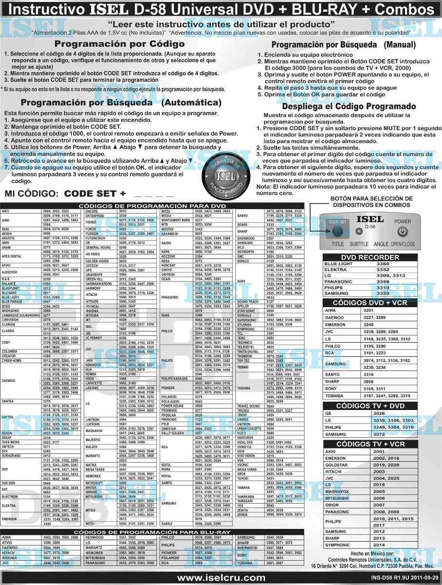 Control Remoto Universal Isel D 58 Dvd Bluray Vcr Mas