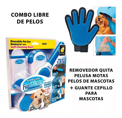 removedor quita pelusa motas pelos + guante cepillo mascotas