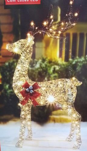 rena decorativa natalina 1,62 altura iluminada c/ led- 127v