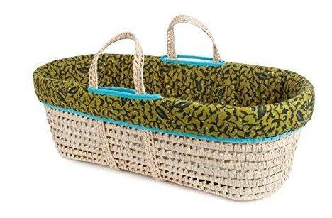 renacuajos moises y juego de cama verde hojas verdes