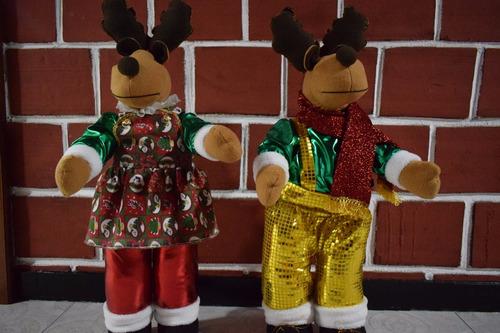 renos navideños pareja - muñecos navideño 100% garantizado