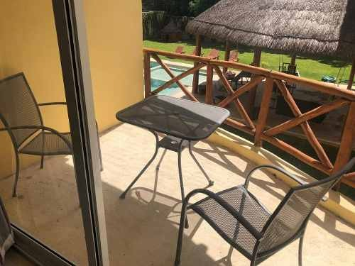 renta de departamento amueblado en cancun  3 recámaras con alberca